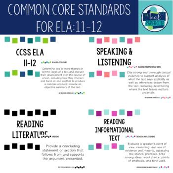 Common Core Standards for  English Language Arts Grades 11-12