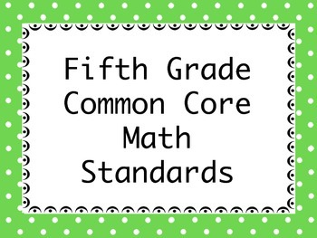 Common Core Standards for Fifth Grade Math