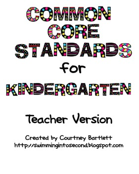 Luscious image for kindergarten common core standards printable