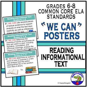 Back to School Common Core Standards for Reading Information PowerPoint Posters