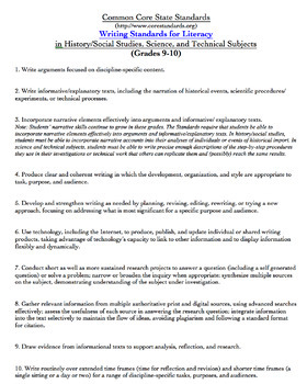 Common Core Standards for Technical Subjects: FREE Template and Lesson