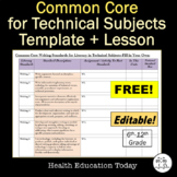 Common Core Standards for Technical Subjects: FREE Templat