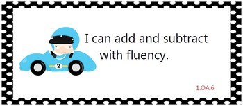 Common Core Standards posters - first grade - race cars