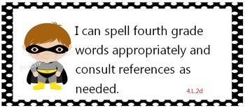 Common Core Standards posters - fourth grade - Cute superheroes - kid friendly
