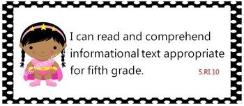 Common Core Standards posters - kindergarten through fifth grade -  superheroes