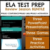 ELA Test Prep Three Review Sessions: PowerPoints, Games, Practice Gr 6-8