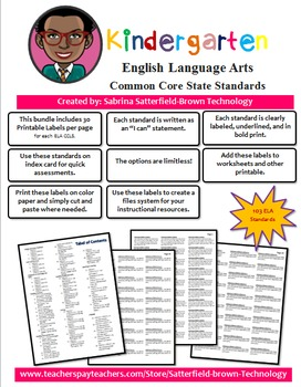 Common Core State Standard: Kindergarten ELA Printable Labels PDF