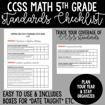 Common Core State Standards 5th Grade Math Checklist