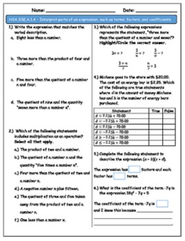 Common Core State Standards Assessment CCSS HSA.SSE.A.1.A