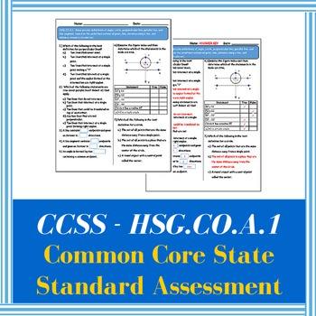 Common Core State Standards Assessment CCSS HSG.CO.A.1