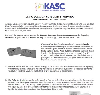 Common Core State Standards Cards Kindergarten