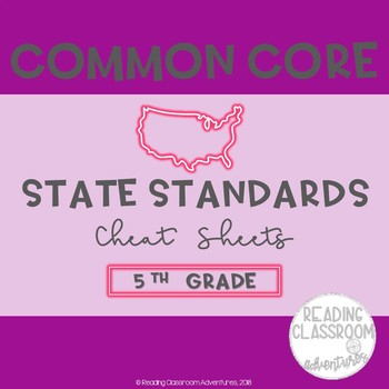 Common Core State Standards Cheat Sheets: 5th Grade