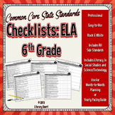 Common Core State Standards Checklist: 6th Grade ELA (Black & White)