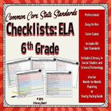 COMMON CORE STANDARDS: 6th Grade ELA Checklists  (Color-Coded)