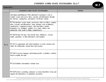 Common Core State Standards Checklist: 7th Grade ELA (Black & White)