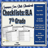 Common Core State Standards Checklist: 7th Grade ELA (Black & White)