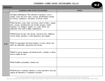 Common Core State Standards Checklist: 8th Grade ELA (Black & White)
