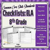 Common Core State Standards Checklist: 8th Grade ELA (Black & White)