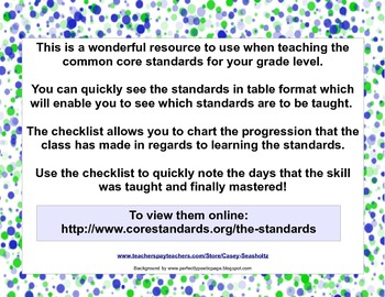 Common Core State Standards Checklist: Fifth Grade with GA Science and History