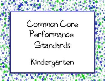 Common Core State Standards Checklist: Kindergarten (K5)