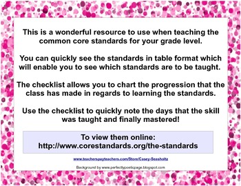 Common Core State Standards Checklist: Third Grade ( 3rd Grade )