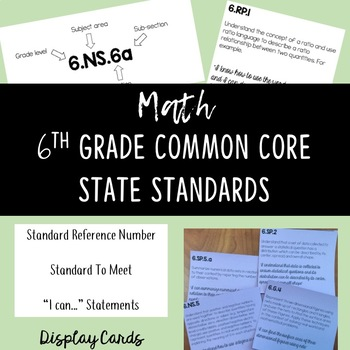 6th Grade Math Common Core State Standards Display Cards