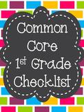 Common Core State Standards ELA Checklist 1st Grade