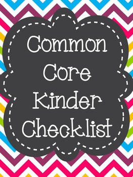 Common Core State Standards ELA Checklist Kindergarten