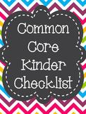 Common Core State Standards ELA Checklist Kindergarten