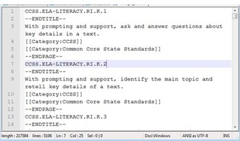 Common Core State Standards ELA as a pure text file