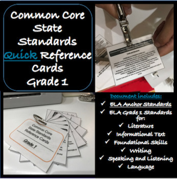 Common Core Standards FIRST GRADE ELA Reference Cards