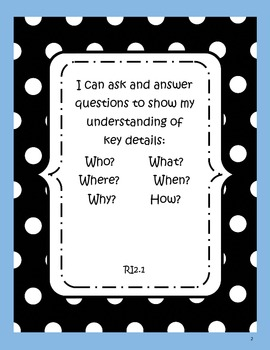Common Core State Standards Learning Targets: Informational Texts - 2nd Grade