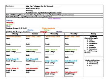 Lesson Plan Template for use with CCSS