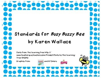 Common Core State Standards Pack for the Trophies story Busy Buzzy Bee