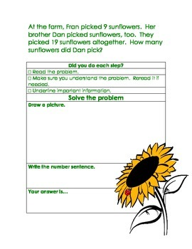 Common Core State Standards Problem Solving Strategies for 1st Grade
