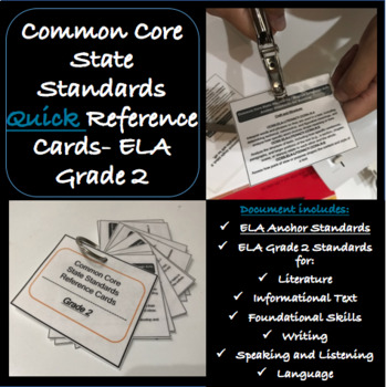 Common Core State Standards SECOND GRADE ELA Reference Cards