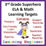3rd Grade Checklist, Learning Target Posters, Common Core ELA & Math (Superhero)
