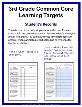 3rd Grade Checklists | Learning Target Posters | Common Core ELA and Math