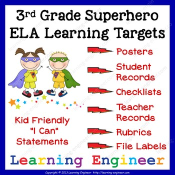 3rd Grade Checklists, 3rd Grade Learning Target Posters, 3