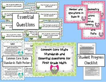 Common Core State Standards and Essential Questions for 1st Grade Math- Owl