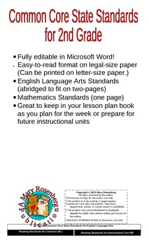 Common Core State Standards for 2nd Grade