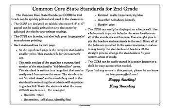 Common Core State Standards for 2nd Grade (posters)