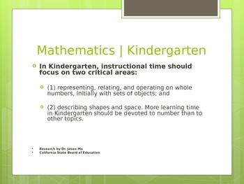 Common Core State Standards for Math - Grade K