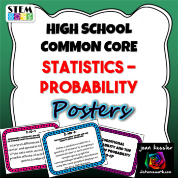 High School Common Core Statistics & Probability Standards Posters