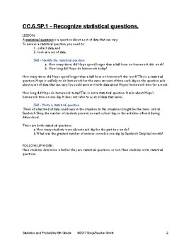 Common Core Statistics and Probability Lessons - 6th Grade