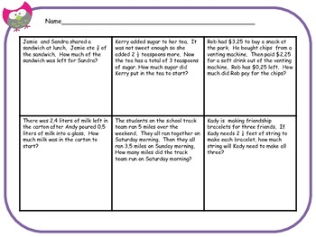 Common Core Story Problems with Fractions and Decimals