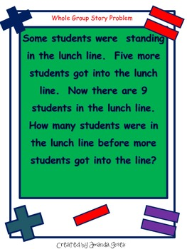 Common Core Story Problems with Unknowns