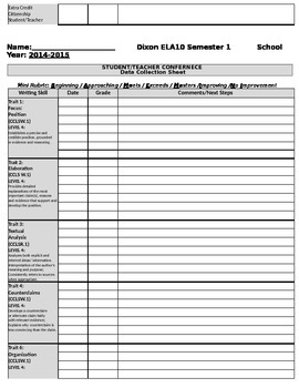 Common Core Student-Teacher Conference Log and Skills Tracker