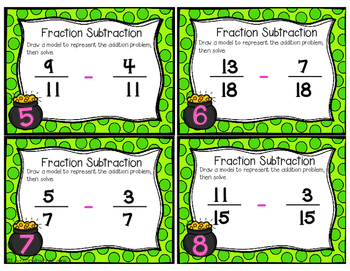 Common Core Subtracting Fractions & Mixed Numbers Task Cards
