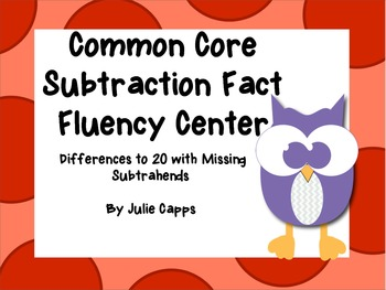 Common Core Subtraction Fact Fluency Center